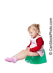 the little girl sitting on potty