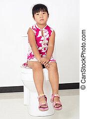 The little girl toilet