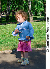 little girl with a chalk