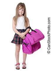 The little girl with a lilac bag isolated