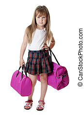 The little girl with lilac bag