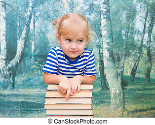 The little girl with the books