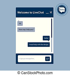 The live chat window for web pages in internet.