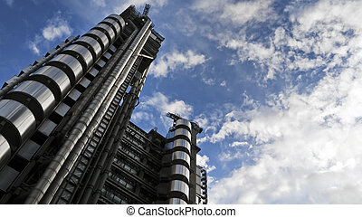 The Lloyd's Building (also known as The Inside-Out Building) with copy space. It is the home of the insurance institution Lloyd's of London, and is located at One Lime Street, in the City of London,
