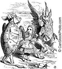 The Lobster Quadrille - Alice's Adventures in Wonderland original vintage engraving