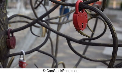 the lock in the form of heart hanging on a metal artificial tree lovers