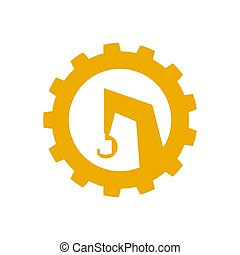 The logo, a construction crane icon. Special equipment. Vector illustration. Flat style