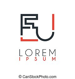 The logo between the letter E and letter U or EU with a certain distance and connected by orange and gray color