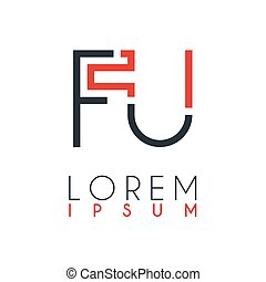 The logo between the letter F and letter U or FU with a certain distance and connected by orange and gray color