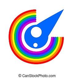 the logo is a rainbow and a rain drop on white isolated background. Vector image