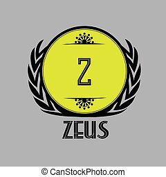 """The logo is black and yellow, the letter """"Z"""" and the inscription """"Zeus"""", design for the site, on a gray background,"""
