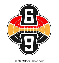the logo is the abstraction of a sports stadium figures 69 on white isolated background. Vector image