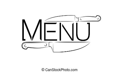 The logo of a cafe or restaurant. logo for menus or throws. Two kitchen knives and a word menu.
