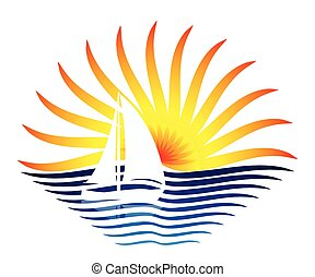 the logo with the sailboat and sun