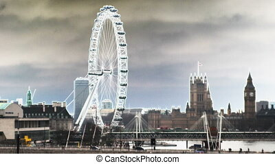 the london eye millenium wheel with an abstract filter
