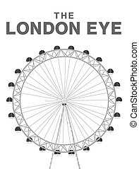 the london eye vector on white background