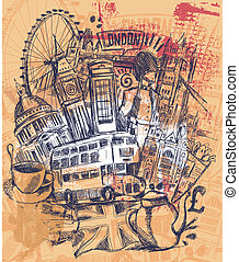 The London Trip - This London Sketch on vintage Background...