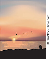 The lonely man at the sunset. Vector illustration