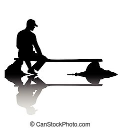 The lonely person sitting on breakage - The person sits on a...