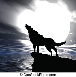 lonely wolf - The lonely wolf on a rock, howls on the full ...