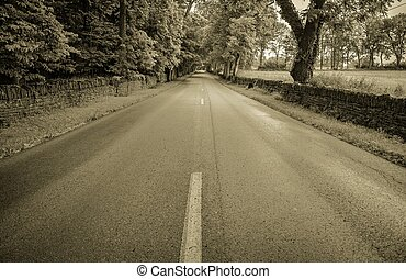 The Long Road Home - Paved road framed by stone fences and...