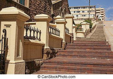 The long steep steps - Long and steep pedestrian steps on...