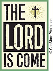 The Lord is Come Vintage Christian Christmas Card Poster