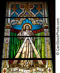 A stained glass window in Gibraltar showing the Lord Jesus Christ