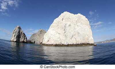 the los arcos rock formation shot from a boat, baja california sur, mexico
