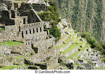 The Lost city of Machu- Picchu - The residential sector of...