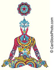The lotus position. Chakra sahasrara.