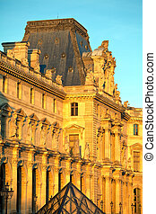 The Louvre Palace and  Pyramid before sunset, Paris, France