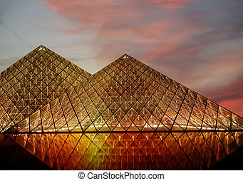 The Louvre Palace and the Pyramid, which was completed in 1989 (by night), France