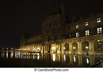 Louvre Palace (by night), France