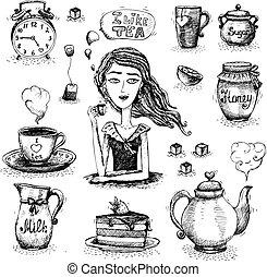 Tea set scene with the girl vector illustration