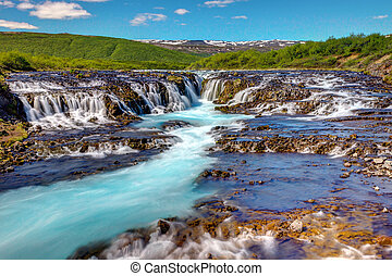 The lovely Bruarfoss waterfall in Iceland