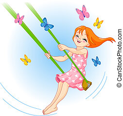 The lovely girl on a swing - The lovely girl shakes on a ...