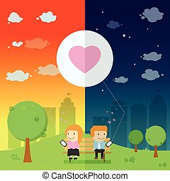 The lover send the emotional love resonance on smart phone in the park be different day and night