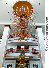 The luster at the lobby of luxury hotel, Pattaya, Thailand