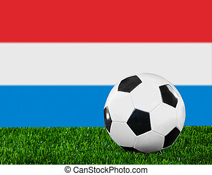 The Luxembourg flag and soccer ball on the green grass.