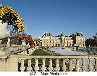 Winter scene at the The Luxembourg Palace in Paris - the seat of the French Senate.