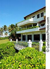 The luxury hotel and green lawn, Bentota, Sri Lanka