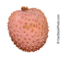 The lychee (Litchi chinensis) fruit, close up, macro, isolated. Genus Litchi in the soapberry family, Sapindaceae.