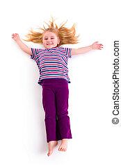 lying little girl with long hair