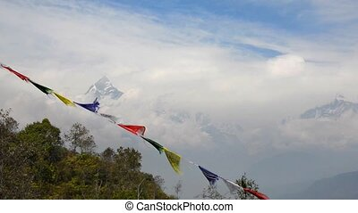 The Machapuchre and prayer flags