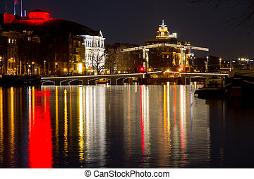 The Magere Brug (skinny bridge) - night shot of the Magere ...
