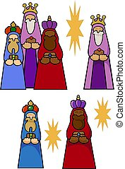 The Magi with their gifts for the Christ Child, and some stars. Variations with shadows.