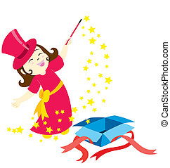 The Magic Girl - A little girl character swinging her wand ...