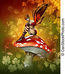 The Magic of Autumn - a little fairy is sitting on a fly...