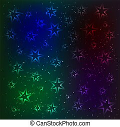 The magic pattern glowing stars and sparkling particles. Space background. Design template. The night sky vector illustration.